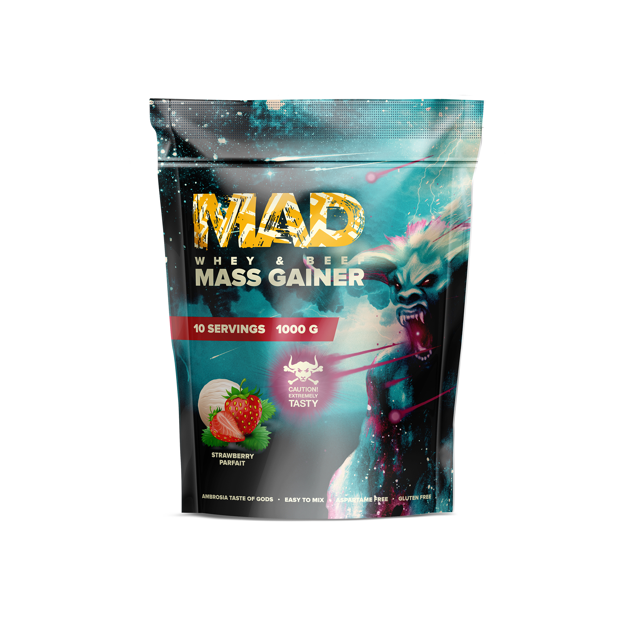 MAD WHEY & BEEF MASS GAINER 1000g/10serv Strawberry